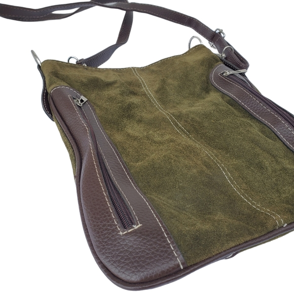 Suede Crossbody Purse  Dark Green Adjustable Strap